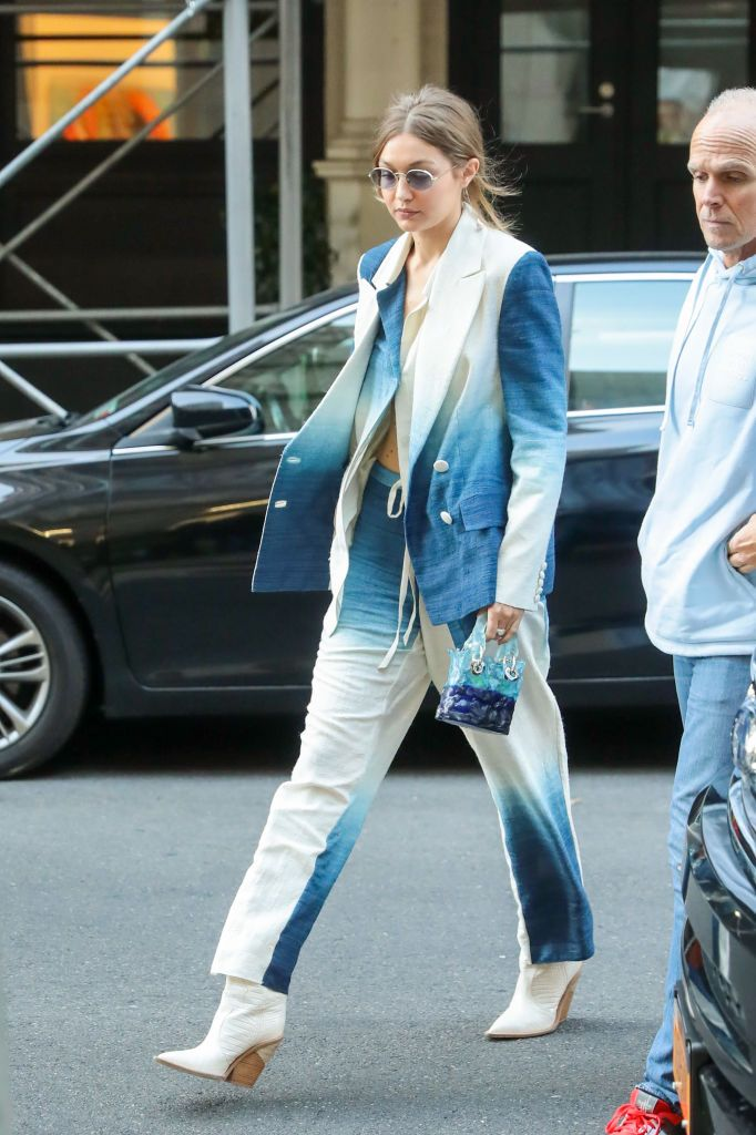 Gigi Hadid wearing tie-dye, the hottest trend of the moment.