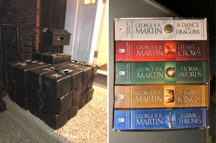 Three Game of Thrones books in Braille compared to five paper books
