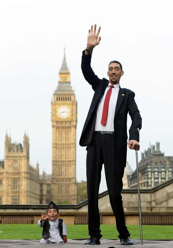 World's tallest and smallest man together.