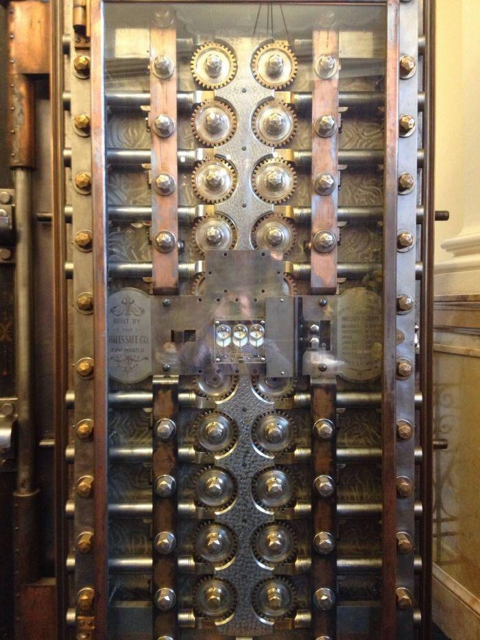 glass bank vault door