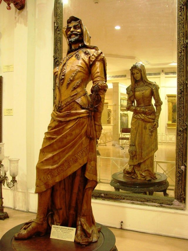 double-sided statue